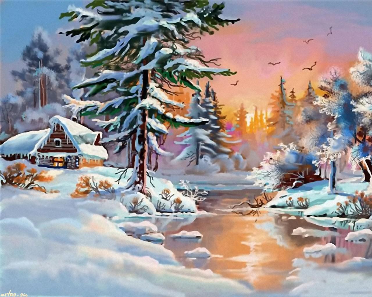 Зима рисунки художников 3